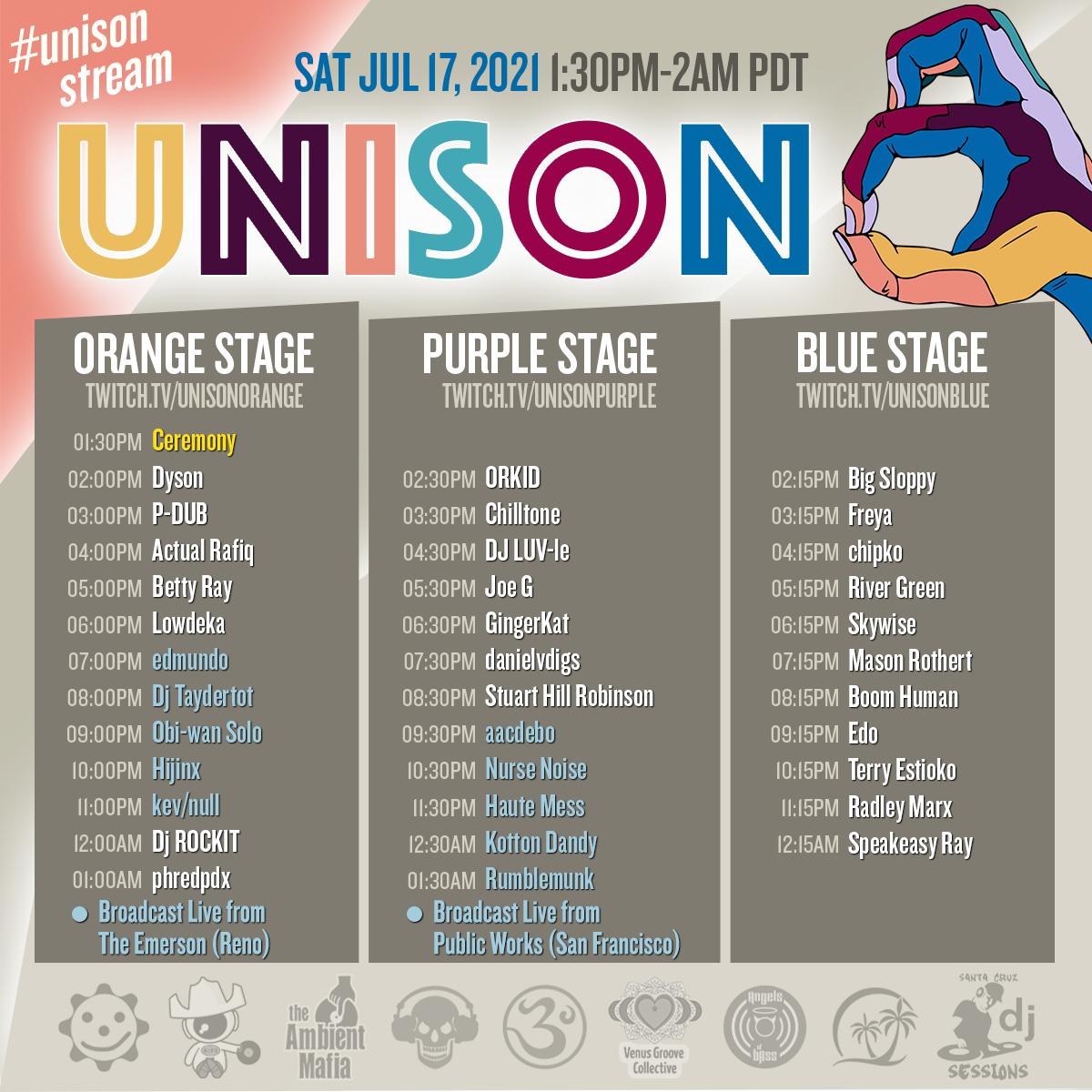Unison 8 Saturday Lineup