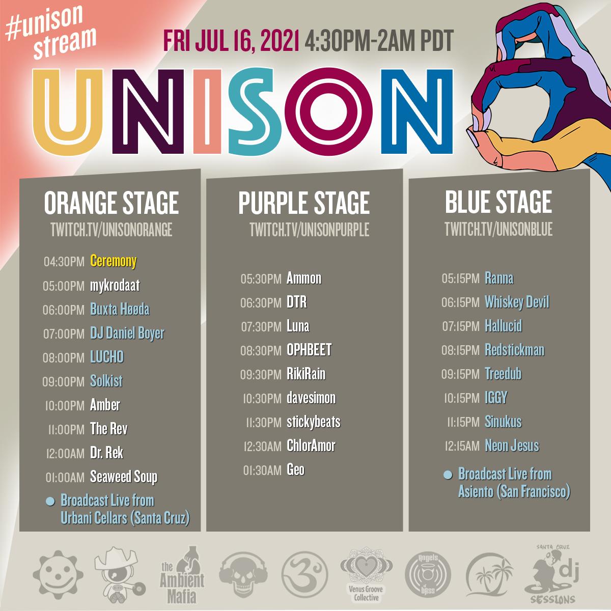 Unison 8 Friday Night Lineup